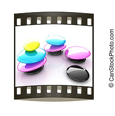 Colorfull spa stones. 3d icon. The film strip