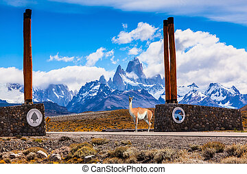 Entrance to the National Park Los Glasyares designated...