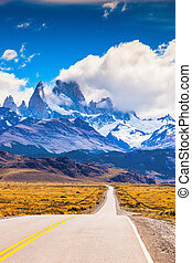The top of Mount Fitzroy - The highway crosses Patagonia and...