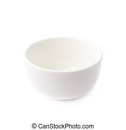 pequeño, blanco, cerámico, tazón, aislado