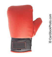 Single red and black boxing glove isolated over the white...