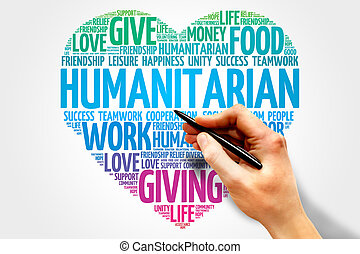 Humanitarian word cloud, heart concept