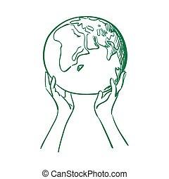 doodle globe in women hands