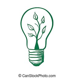 doodle Light Bulb with sprout inside