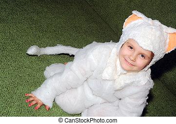 girl kitten costumed - 4 year old girl dressed as a kitten