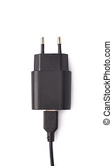 Fragment of the black adapter charger isolated - Fragment of...