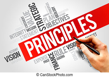 Principles word cloud, business concept