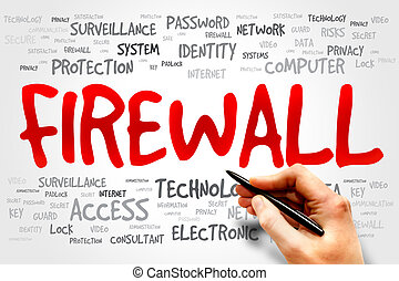 FIREWALL word cloud, security concept