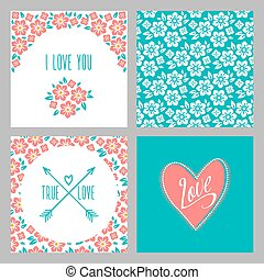Set of Flower wedding invitation cards and 4 patterns, greeting, true love, i love you sign. Folk style