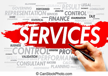 SERVICES word cloud, business concept