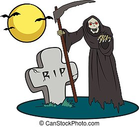 Halloween creature on graveyard - Illustration with image of...