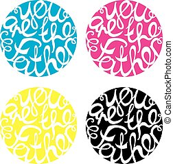 Happy Fathers Day handlettering elements in four colors. You...