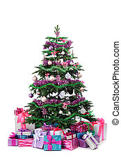 decorated Christmas tree with heap of gifts isolated on...