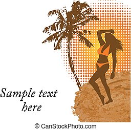 woman in bathing suit on the beach - graceful silhouette of...