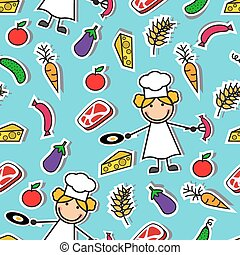 pattern with chef and food