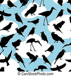pattern with silhouettes birds - seamless pattern with black...