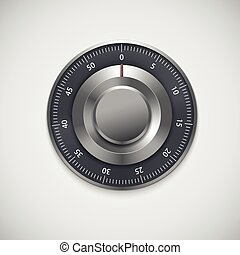 Realistic combination lock, isolated on white background...