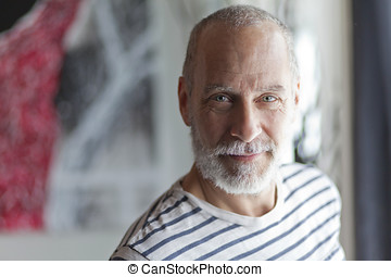 Mature Man Smiling At The Camera - Copy Space, Italian...