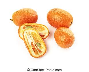 Kumquat - Small orange Kumquat fruits on white with natural...
