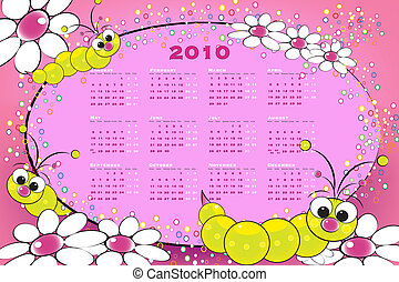 2010 calendar with grubs and flowers, kids illustration