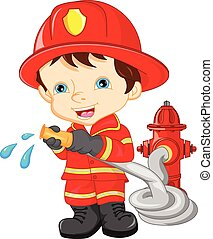 young boy wearing Firefighter - vector illustration of young...