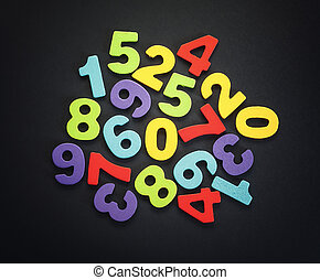 Wooden Numbers - Wooden numbers on black background, various...