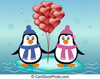 penguin couple love concept - cute penguins with red heart...