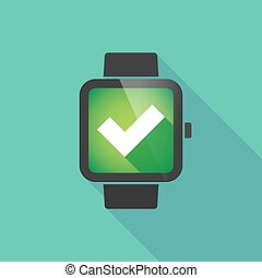 Smart watch with a check mark