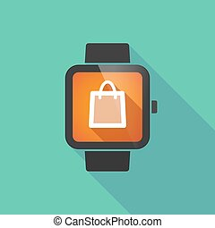 Smart watch with a shopping bag