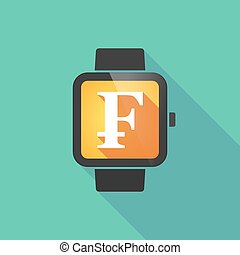 Smart watch with a swiss franc sign - Long shadow smart...