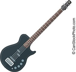 flat style black electric bass guitar illustration