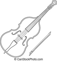 dark contour contrabass music instrument illustration - dark...