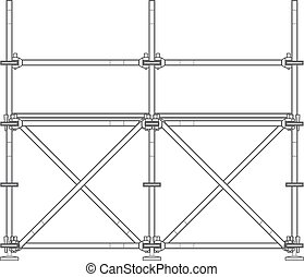 dark contour scaffolding illustration - vector dark grey...