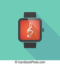 Smart watch with a g clef - Long shadow smart watch with a g...