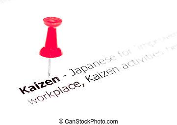 palavra, KAIZEN, fixado, ligado, branca, papel, com,...