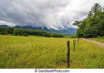 Cades Cove Storm On The Horizon - Cades Cove meadow in the...