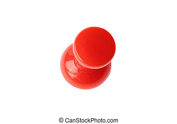 Isolated red drawing pin top view - Top view of red drawing...