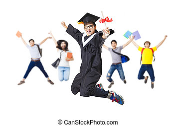 Happy student group in graduate robe jumping together