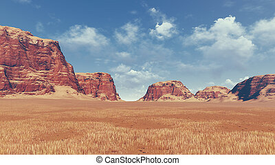Red rocks among desert land - Panorama of rock formations...