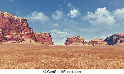 vermelho, pedras, entre, deserto, terra,