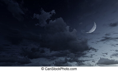 Starry night sky with a half moon - Night sky with half...