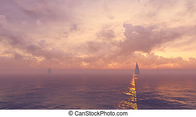 Yachts silhouettes at foggy sunrise - Beautiful marine...