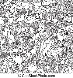 Seamless pattern with doodle flowers. - Seamless black and...