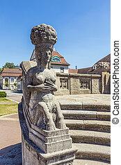 art nouveau statue at famous Sprudelhof in Bad Nauheim -...