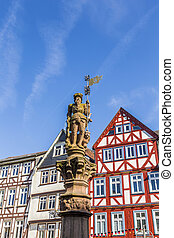 historic market place with statue in Butzbach