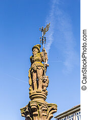historic market place with statue in Butzbach - historic...