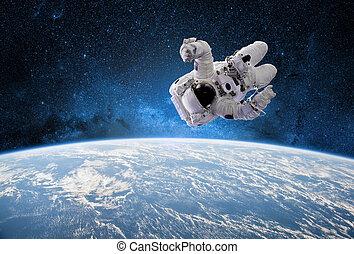 astronauta, en, exterior, espacio, con, planeta, tierra,...