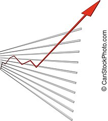 Graphical chart with red arrow up. Vector illustration -...