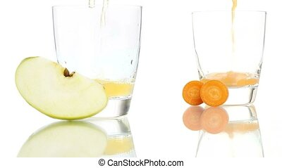 apple carrot juice poured in glass