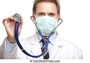 Closeup of doctor holding stethoscope into camera. Isolated on white.